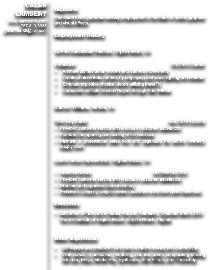 Caleb Lambert Visual Effects Artist Resume