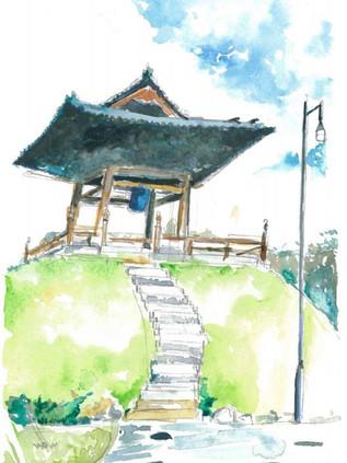 西本願寺 (臺北市), 2016  Watercolor on paper , 140mm x 310mm  HKD 720    Dated and signed by me,ready to frame.