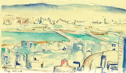 Cityscape view of Osakafrom Floating Garden Observatory  of Umeda Sky Building, 2017  Watercolor on paper ,120mm x 210mm  HKD 320 each    Dated and signed by me,without frame.