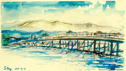 Arashiyama Kyoto, 2017  Watercolor on paper ,120mm x 210mm  HKD 320 each    Dated and signed by me,without frame.
