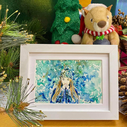 聖誕節畫公仔唔洗畫出腸,向女神表白!  畫作尺寸:6吋 (10.5cm x 15.5cm) 價錢:$480 🎊 附送電子檔 ✨ 附送畫框,提供裝裱服務✨