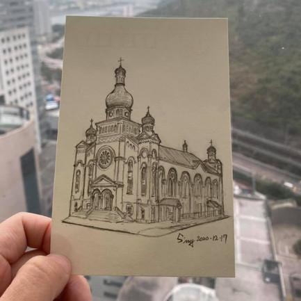 Architecture Art - St. Nicholas Ukrainian Catholic Church 客人將用作於婚禮邀請卡  畫作尺寸:6吋 (10.5cm x 15.5cm) 價錢:$480 🎊 附送電子檔 ✨ 附送畫框,提供裝裱服務✨