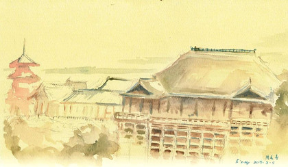 Kiyomizudera Temple, Kyoto, 2017  Watercolor on paper ,120mm x 210mm  HKD 320 each    Dated and signed by me,without frame.