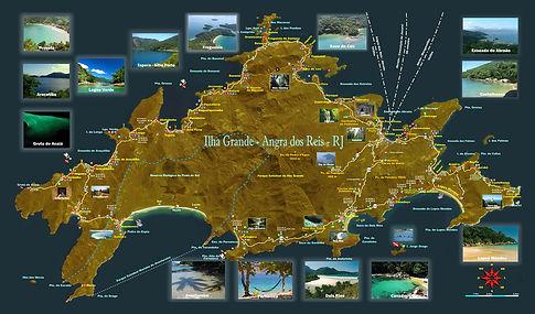 mapa ilha grande, Map of beaches ilha grande, mapa das praias ilga grande