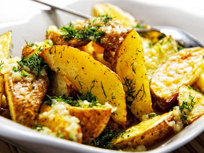 Fried potatoes with onions and Parsley