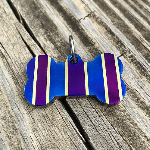 Racing Stripe Timascus Dog Bone Charm