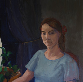 A Girl in Blue Dress, oil on canvas 76x6