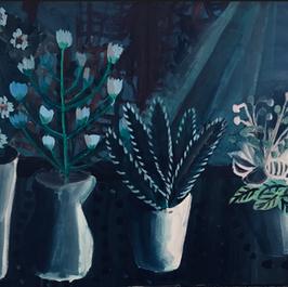Pearl Schneider, plants, Acrylic on canv
