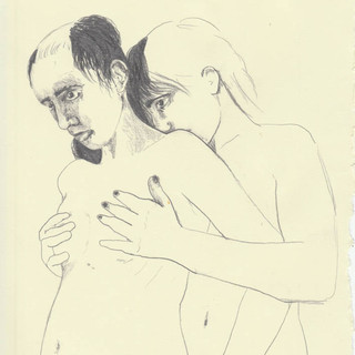 The placement of hands, graphite on pape