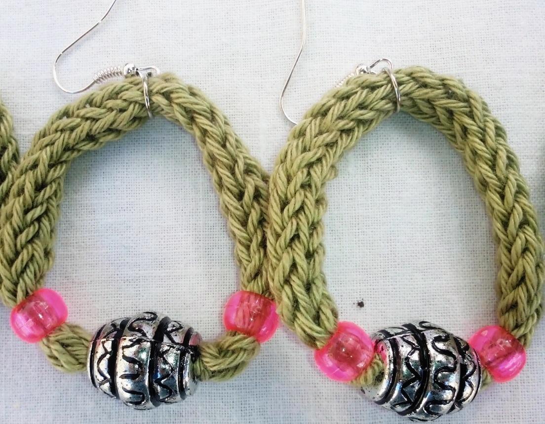 orecchini verde rosa