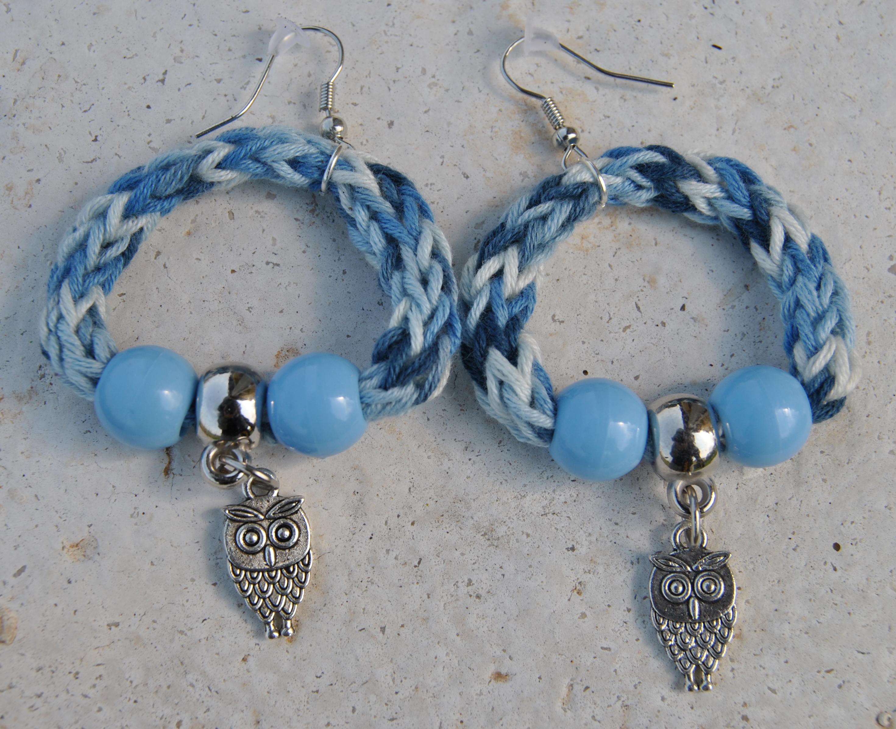 orecchini blu sfumato gufo