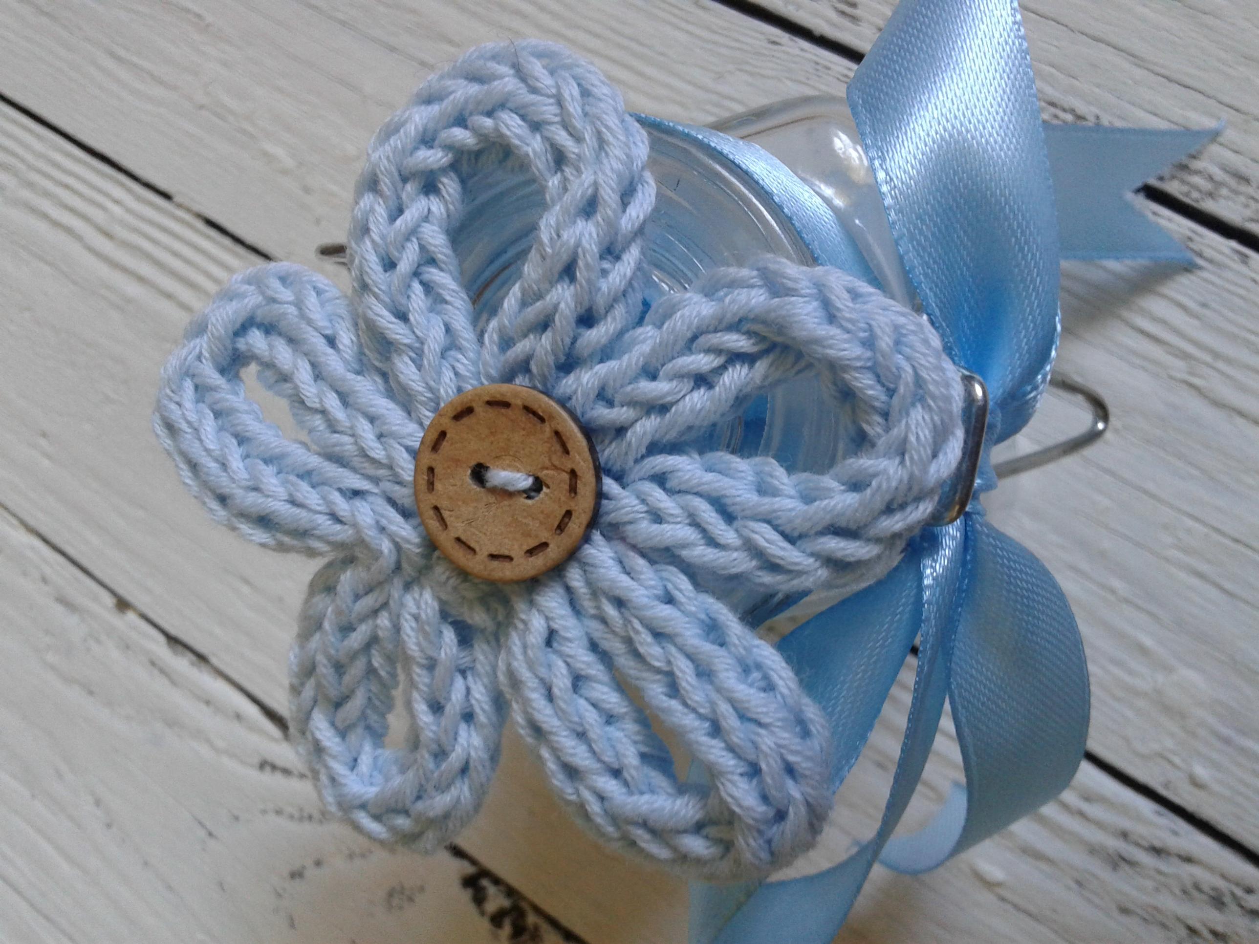 Bomboniera fiore tricotin vasetto