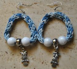 orecchini blu gufo