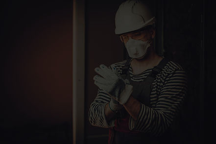 Construction worker following COVID-19 policies and safety