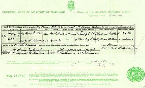 Old marriage certificate from 1883