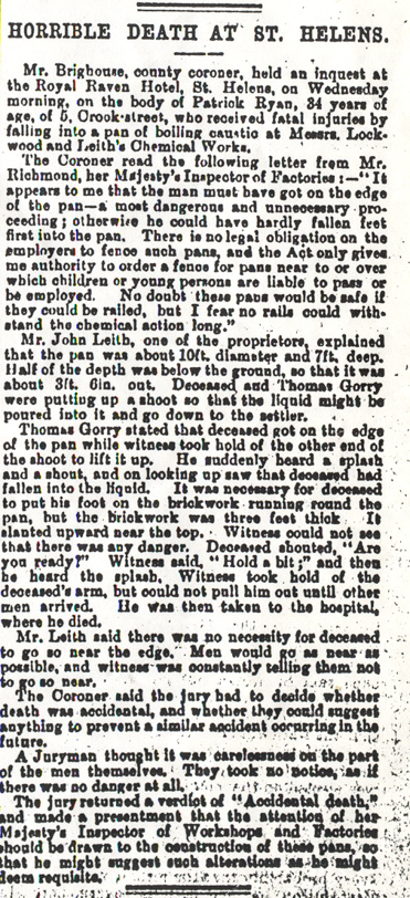 Newspaper report of the inquest of Patrick Ryan