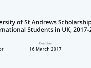 Undergraduate Scholarships at the University of St Andrews in UK, 2018
