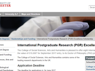 University of Leicester Postgraduate Research (PGR) Excellence Scholarship