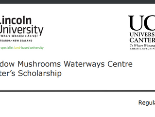 Meadow Mushrooms Waterways Centre Master's Scholarship for International Students, New Zealand