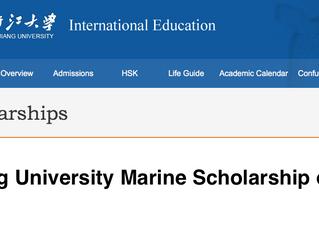 Zhejiang University Marine Scholarship of China for International students, 2018