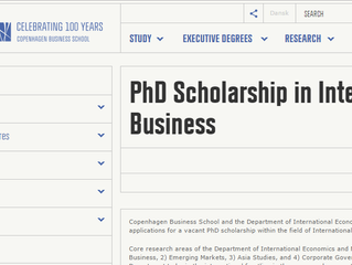 Fully Funded Copenhagen Business School PhD Scholarship for International Students