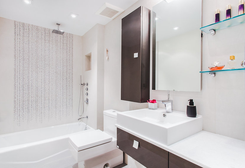 modern bathroom, rkm interior design