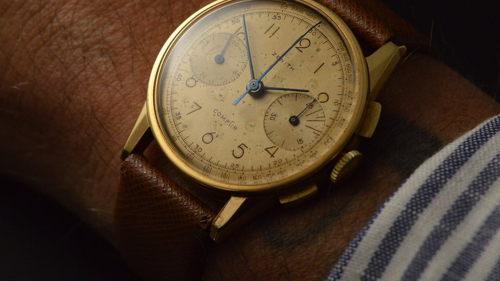 Zenith Rare Compur Coin Edge Case 35mm Original Dial Cal. 146