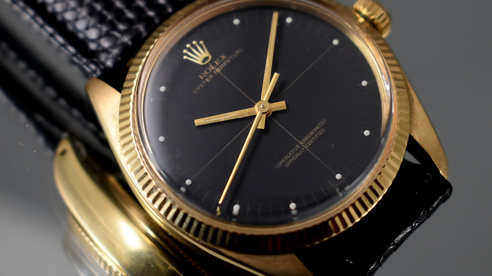 Rolex Full Set Oyster Perpetual From 1976, 18k Gold, Double Dial