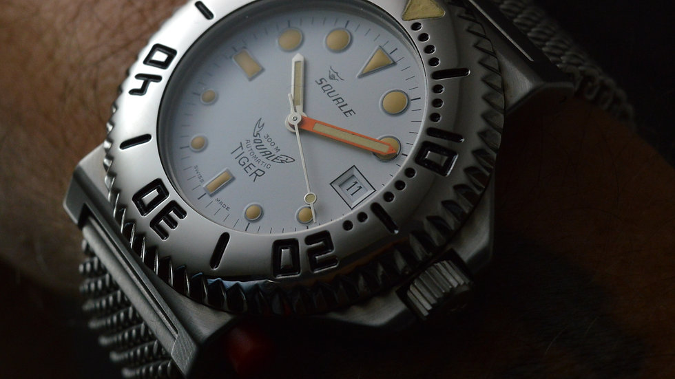 Squale Full Set Unworn Vintage Tiger 300m Automatic Diver White Dial 43mm