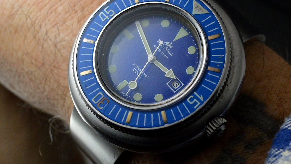 """Philip Watch Rare Caribbean Professional 2000 50mm """"flying Saucer"""" Big Diver"""