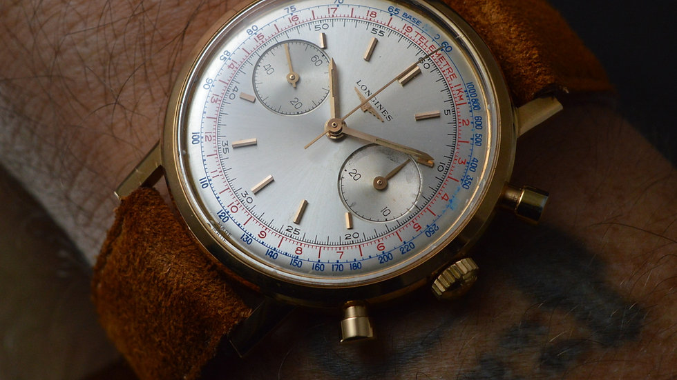 Longines Rare Men's 30ch Rose Gold Flyback Chronograph Box & Papers 38mm