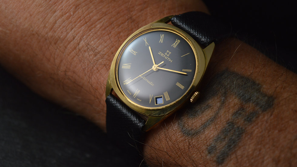 Zenith A Magnificent Automatic Vintage Gold Watch With Superb Dial