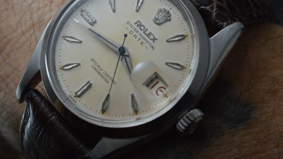 Rolex Rare Men's Oyster Perpetual Cal. 1030 Roulette Date Tropical Radium Dial