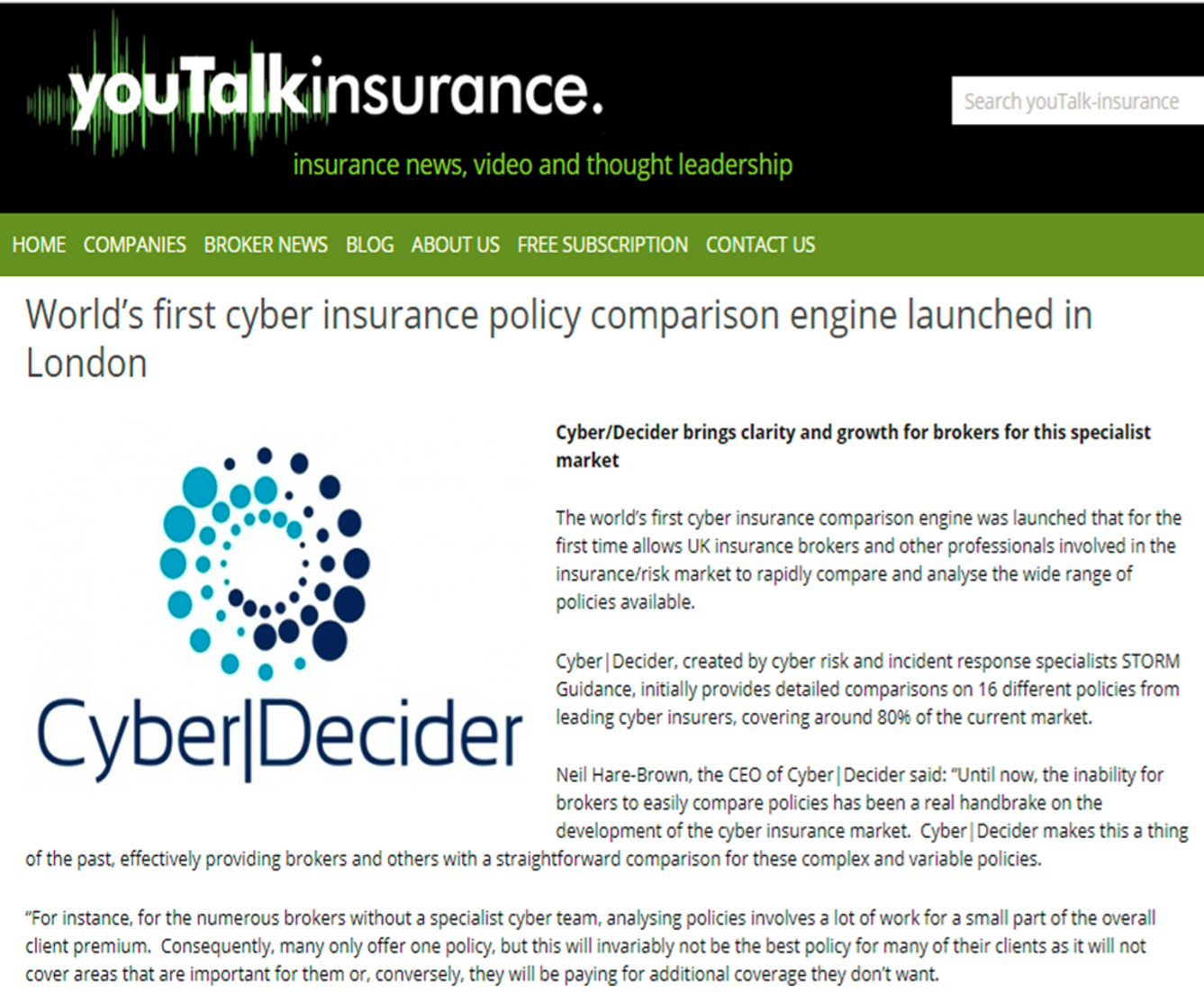 YouTalkInsurance - Cyber|Decider