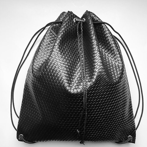 Mini BasketWeave Faux Leather Drawstring Backpack
