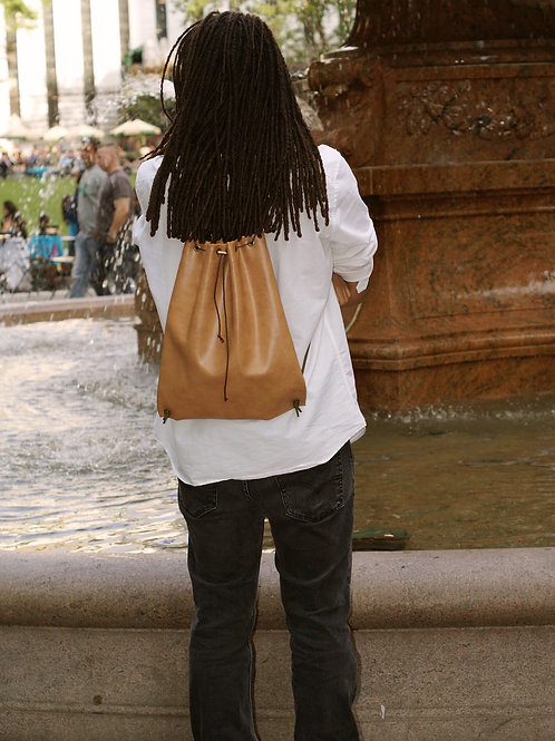 Smooth Saddle Faux Leather Drawstring Bag