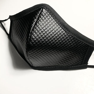 Quilted Faux Leather Face Mask