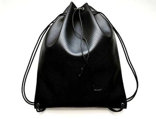 Perforated Faux Leather Drawstring Backpack