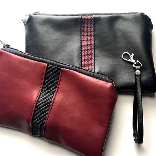 Faux Leather Stripe Bag