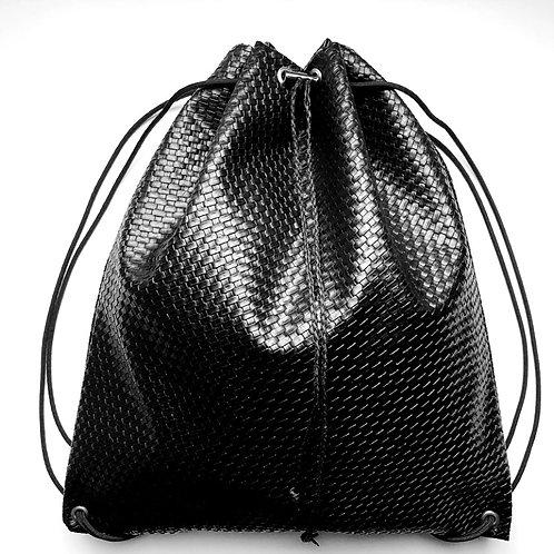 Mini BasketWeave Faux Leather Drawstring Backpack