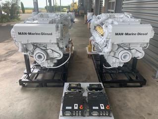 2*  MAN D2842LE409  quadri turbo - 1580hp  2300RPM    sale marine engine w/RECONDITIONED GEARBOXES Z