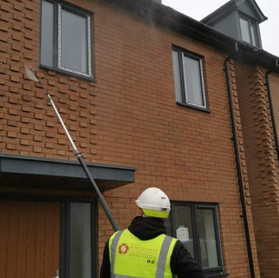 New build house being cleaned