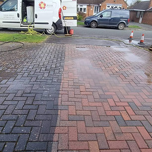 A residential driveway being professiona