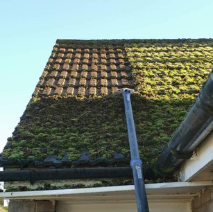 A roof being cleaned