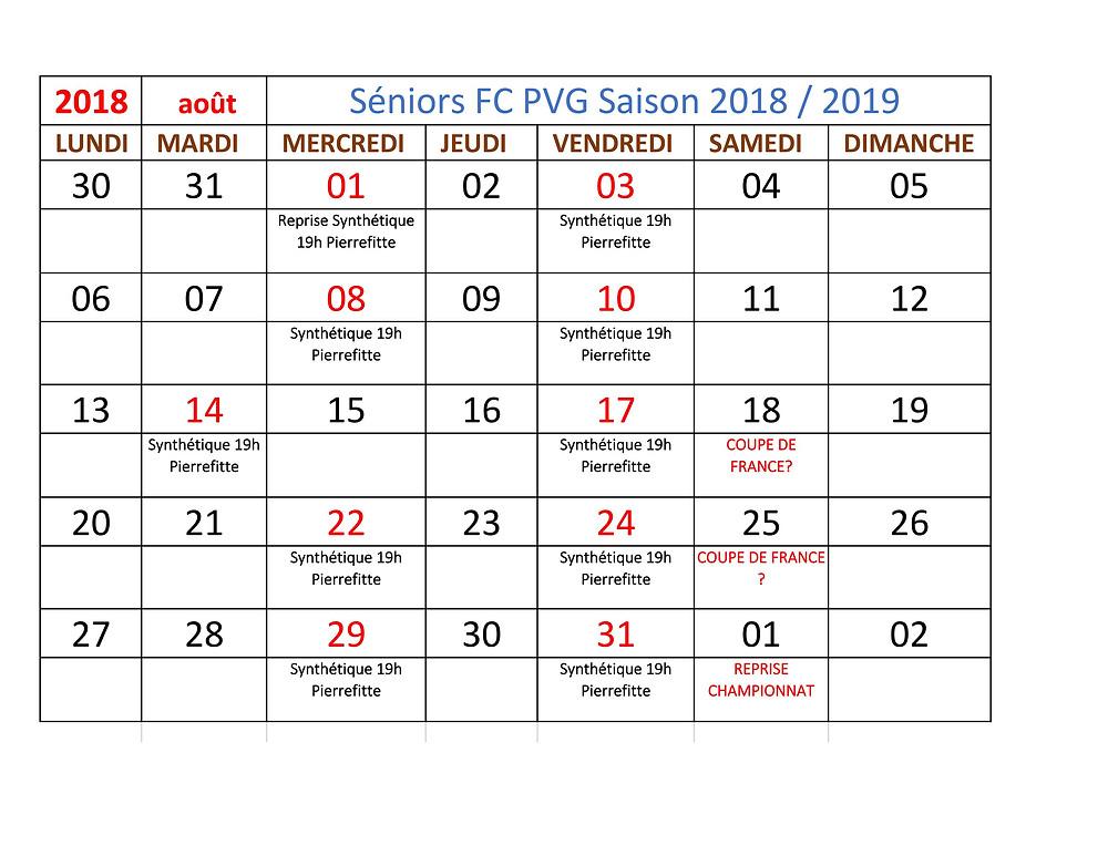 entrainements seniors FC PVG - Août 2018