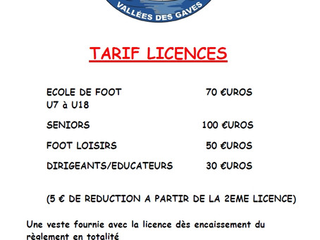 Tarifs Licences FCPVG