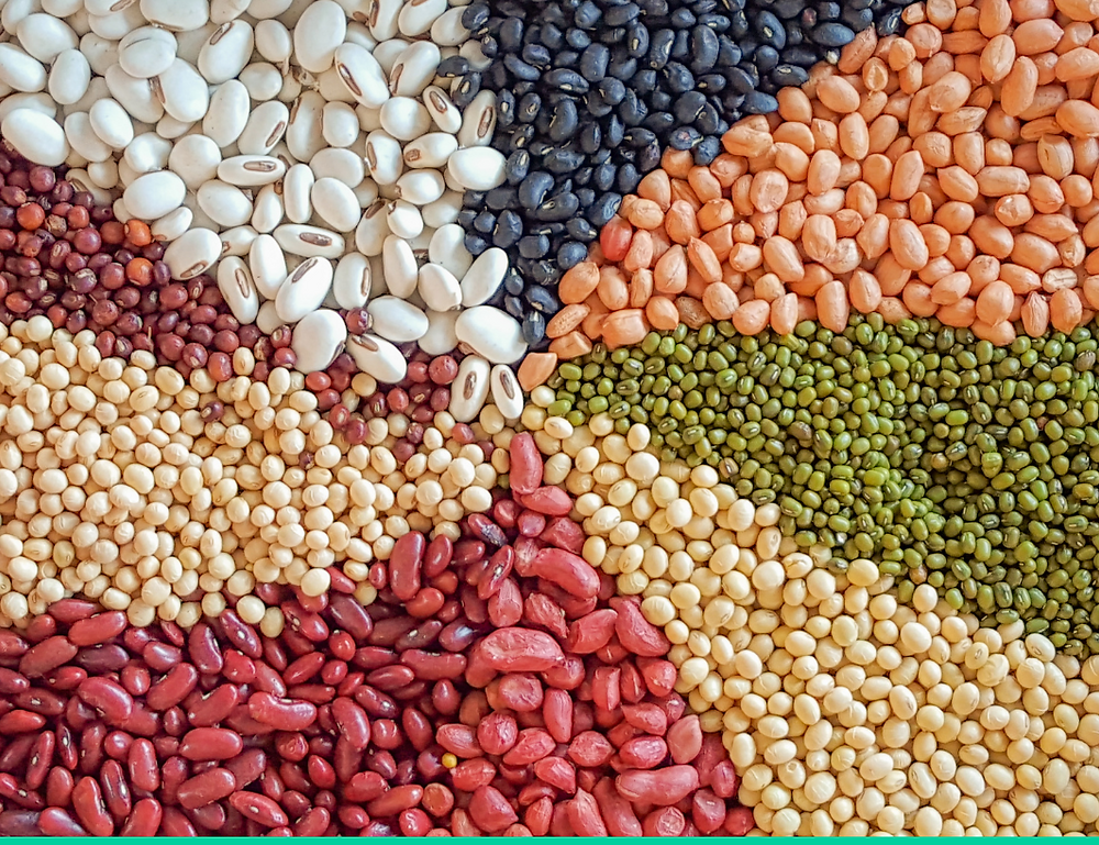 Rainbow of beans: beans contain magnesium, fibre, protein, iron and potassium, maintaining stable blood sugar levels and making us feel calm.