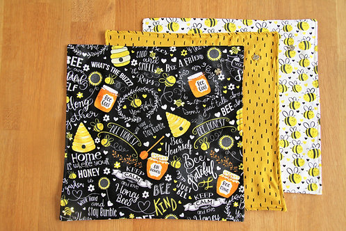 Bee food wraps - set of 3 (with happy dashes)