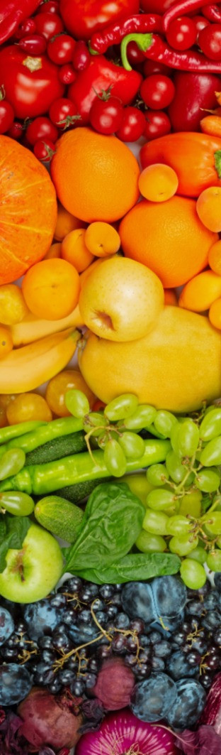rainbow of fruit and vegetables helps us feel better and imrpoves our mood. Particular of interest are red peppers, berries, watermelon, oranges, carrots, lemons, spinach, beetroot and blue berries.