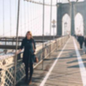 Amy Woodham on Brooklyn Bridge, New York City
